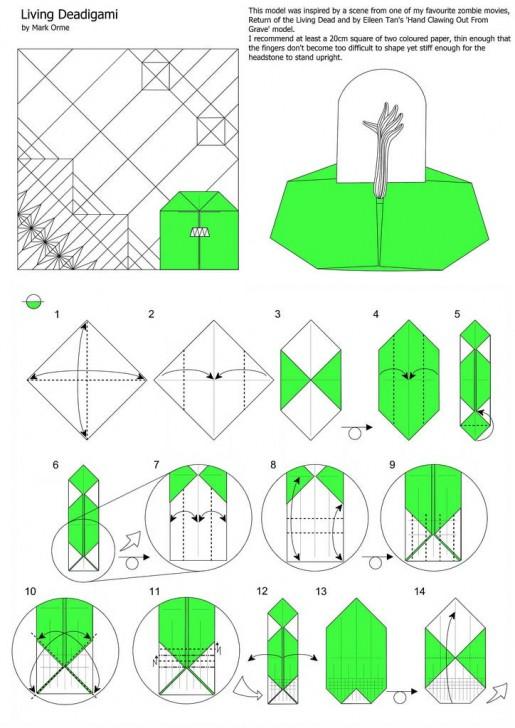 схема зомби оригами