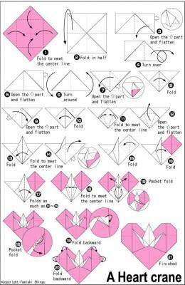 схема сердечка с журавликом