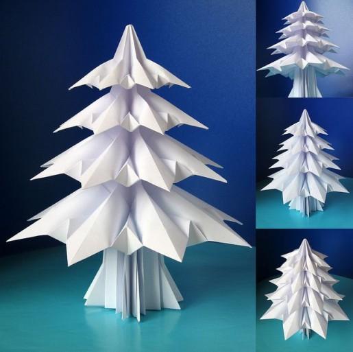 Бумажная елочка белого цвета
