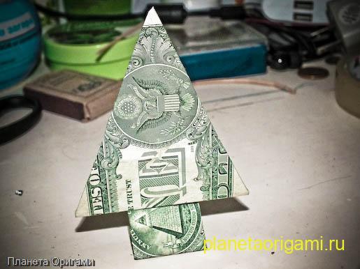 Оригами елочка из купюры