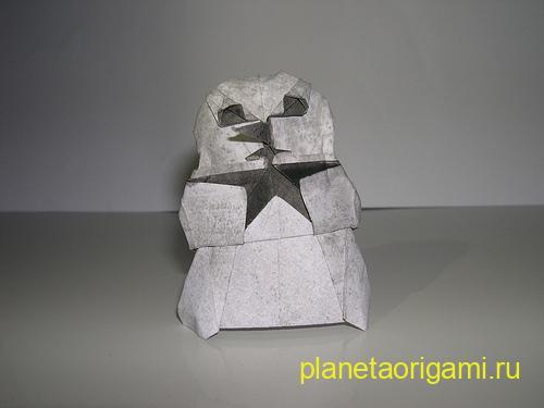 модульное оригами снеговик схема.