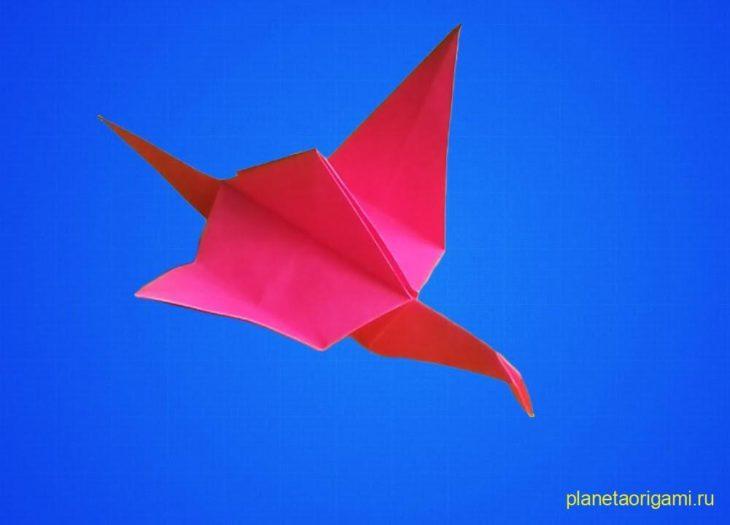 Оригами цветок с журавликами