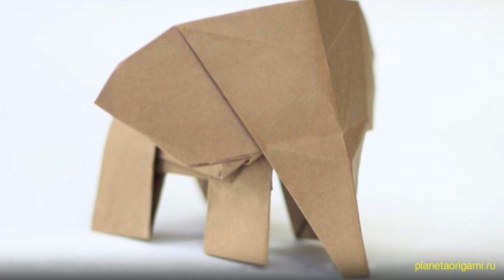 Оригами слоненок по схеме Tadashi Mori