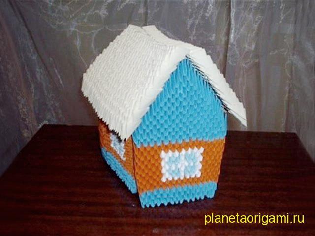 Оригами домик из модулей