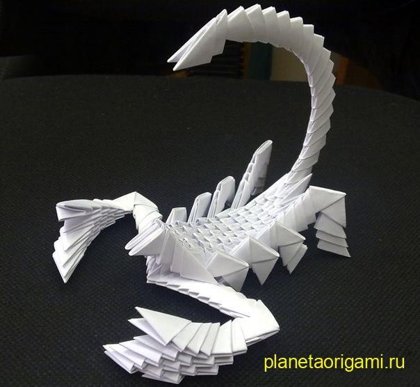Оригами скорпион из модулей