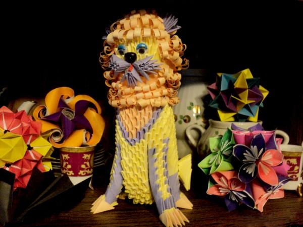Оригами лев из треугольных модулей по схеме Натальи Хоменко