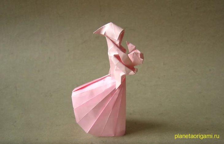Оригами мать и дитя по схеме Stephen Weiss
