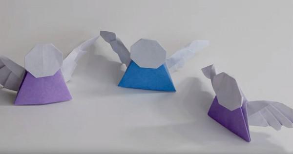 Простой оригами ангел версия