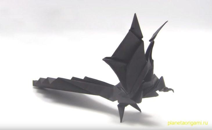 Оригами феникс по схеме Yamaguchi Tomoyuki