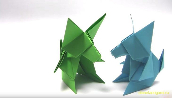 Оригами волчата по схеме Tetsuya Gotani