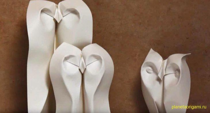 Оригами сова по схеме Петера Штайна