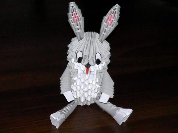 оригами кролик из треугольных модулей