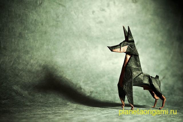Оригами доберман-пинчер по схеме Ares Alanya