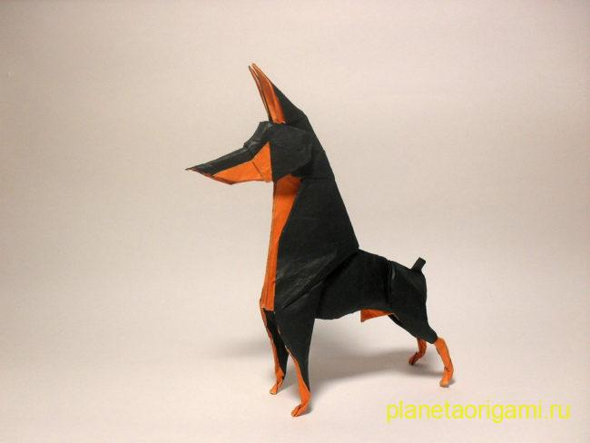 Оригами собака доберман-пинчер по схеме Ares Alanya
