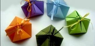 Простая подарочная оригами коробка