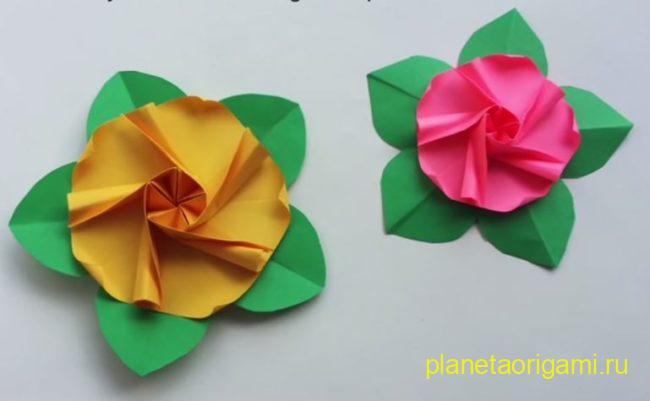 цветок мальвы оригами