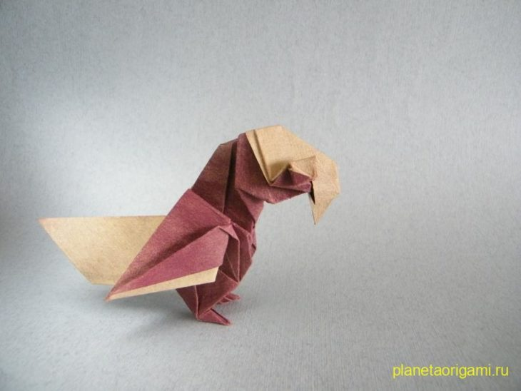 Оригами попугай по схеме Barth Dunkan