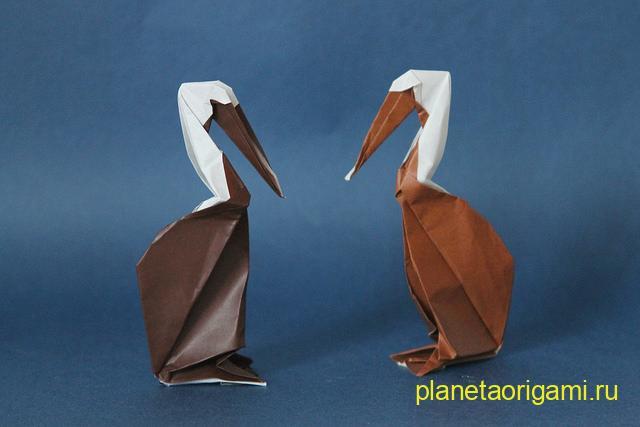 Оригами пеликан по схеме Hoang Tien Quyet