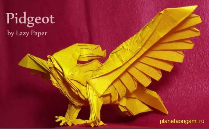 Оригами покемон Pidgeot по схеме Lazy Paper