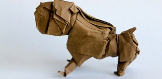 Оригами бульдог по схеме Quentin Trollip