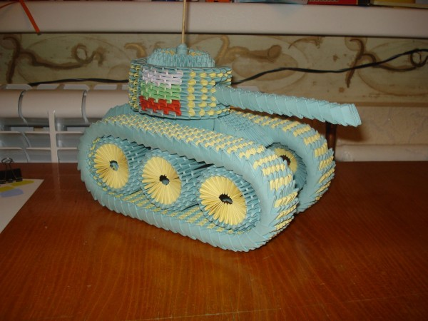 Оригами танк по схеме Ivan