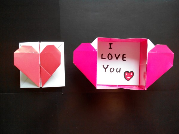 Origami Heart Card Instructions and Diagram
