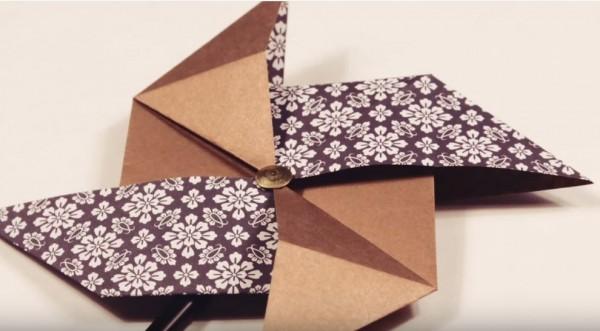 Простая шутиха из бумаги: оригами для детей