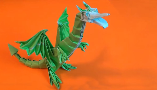Оригами дракон Super Dragon Deluxe от Джереми Шейфера