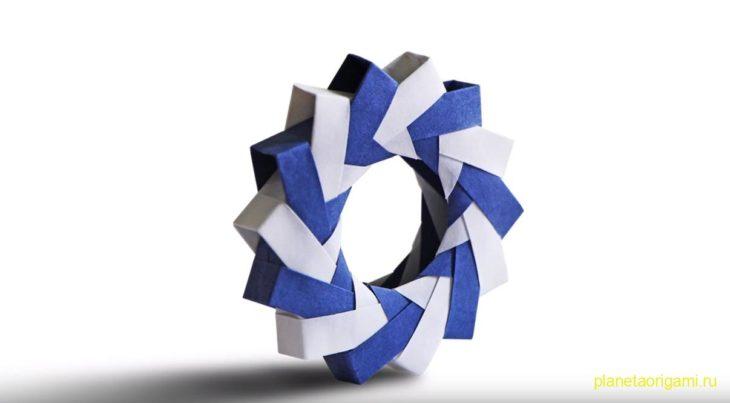 Оригами объемное модульное кольцо по схеме Паоло Баскетты (Paolo Bascetta)