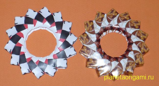Оригами объемное модульное кольцо по схеме Паоло Баскетты (Paolo Bascetta) из разноцветной бумаги