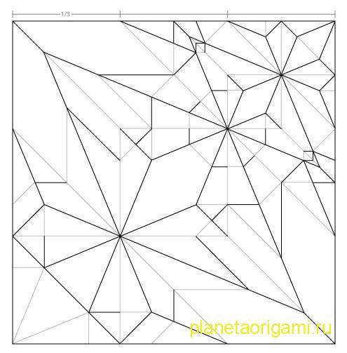 Схема сборки оригами птеродактиля Тадаши Мори (Tadashi Mori)