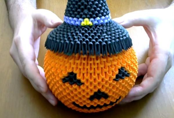 Оригами шляпа ведьмы к Хэллоуину