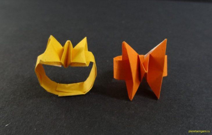 Оригами колечко-бабочка