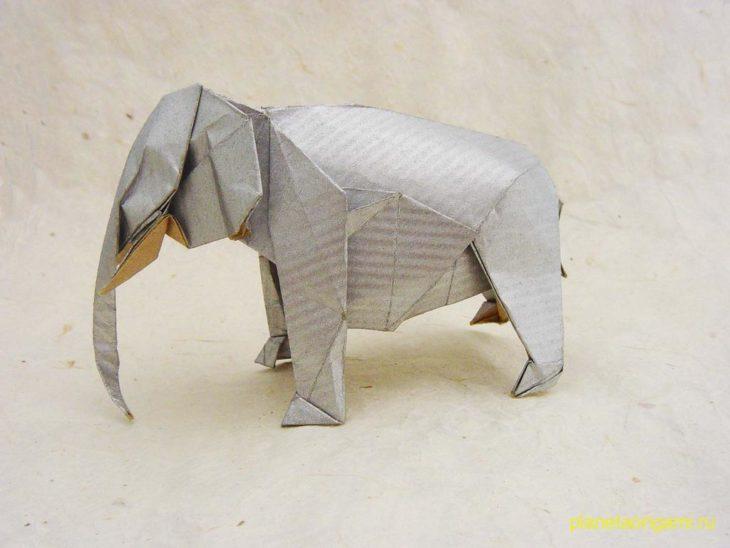 Оригами слон по схеме Сатоши Камия (Satoshi Kamiya)
