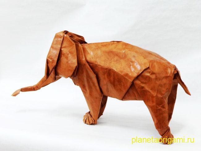 Оригами слон по схеме Сатоши Камия (Satoshi Kamiya) из плотной бумаги золотого цвета