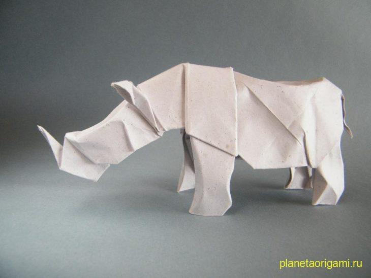 Оригами носорог по схеме