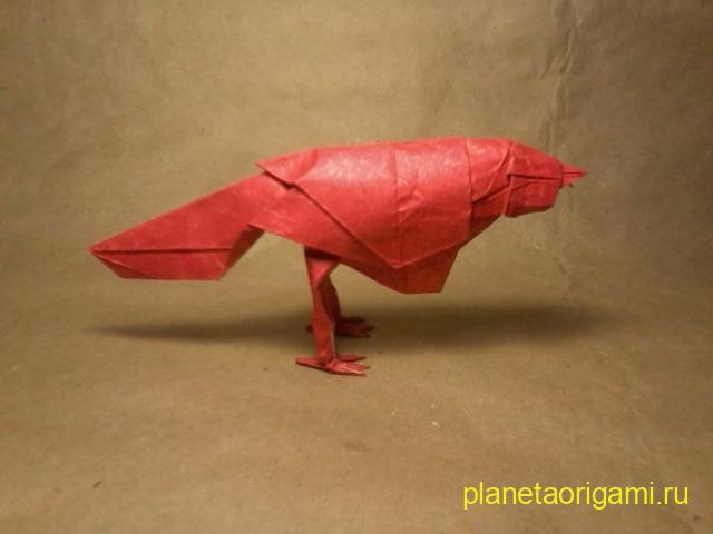 Оригами певчая птица по схеме Роберта Лэнга (Robert Lang) из красной бумаги