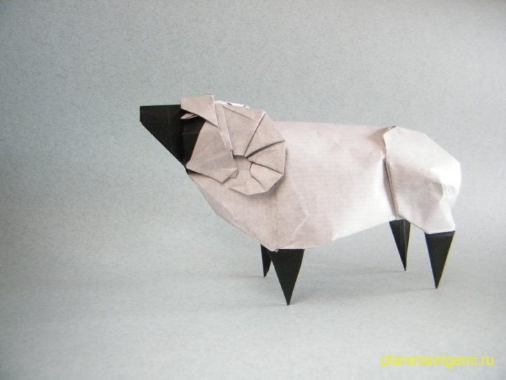 Оригами овца по схеме Сета Фридмана (Seth Friedman)
