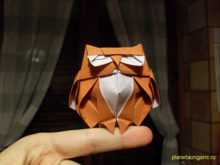 Оригами сова по схеме Романа Диаз (Roman Diaz)