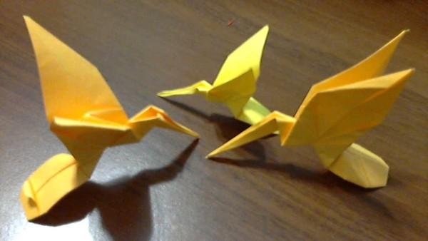 Птица из бумаги по схеме
