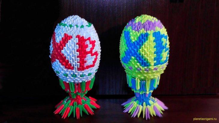 Пасхальное яйцо из треугольных модулей