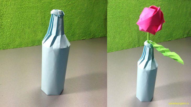 Бутылка из бумаги по схеме Jo Nakashima