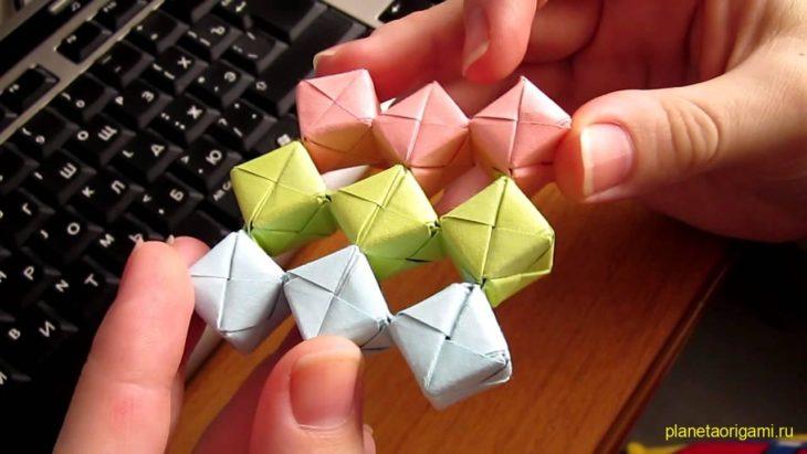 Подвижные кубики из модулей «Сонобе» (2 модели)