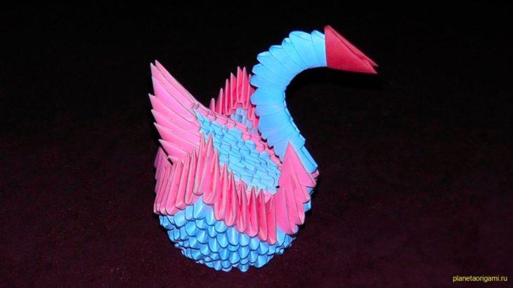 Модульное оригами: Лебедь схема сборки