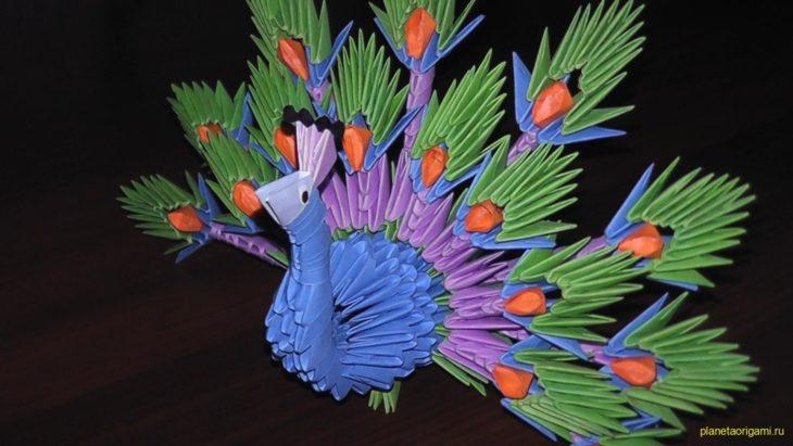 Оригами лебедь двойной из треугольных модулей схема фото 541
