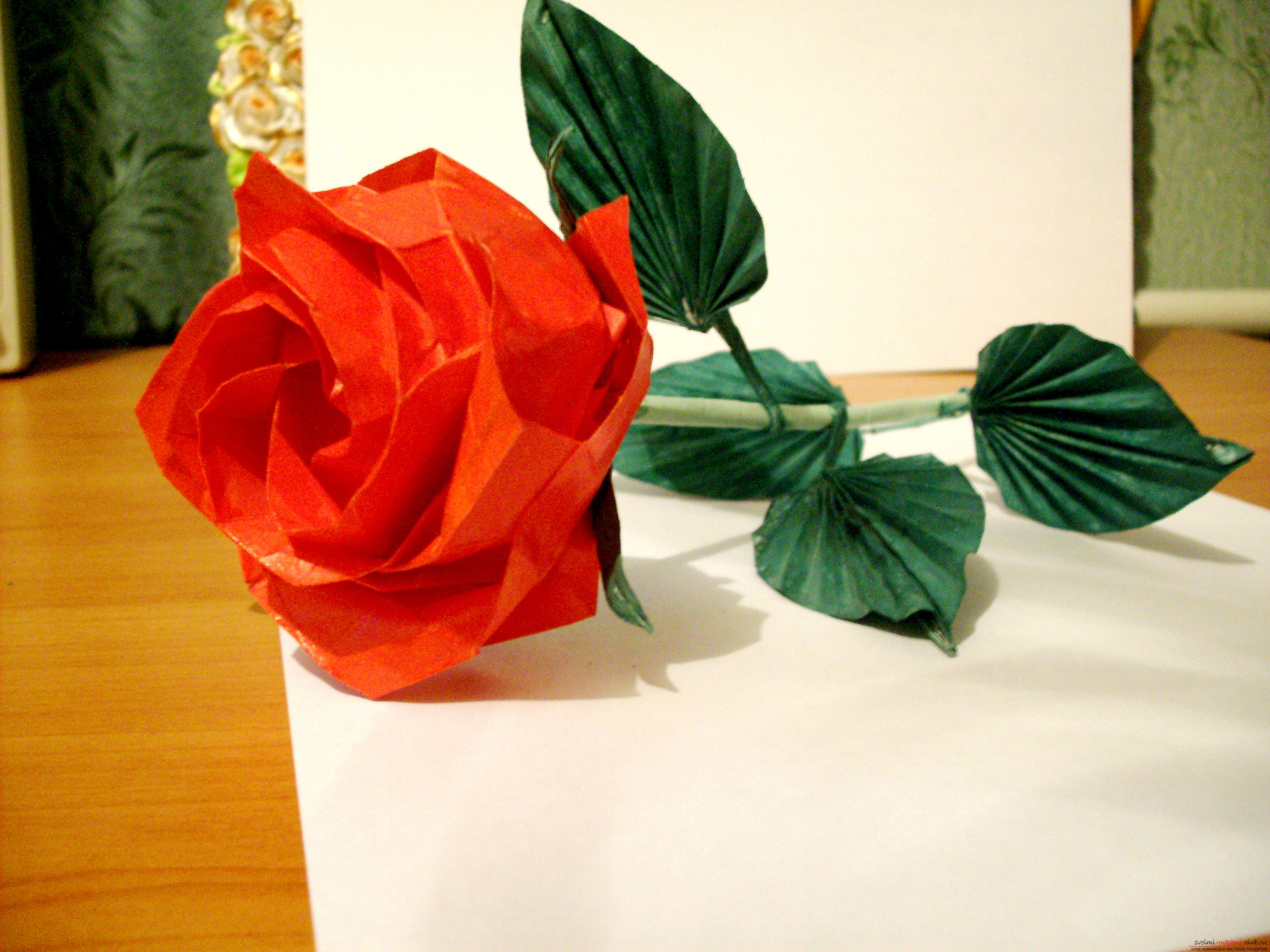 Оригами своими руками роза схема