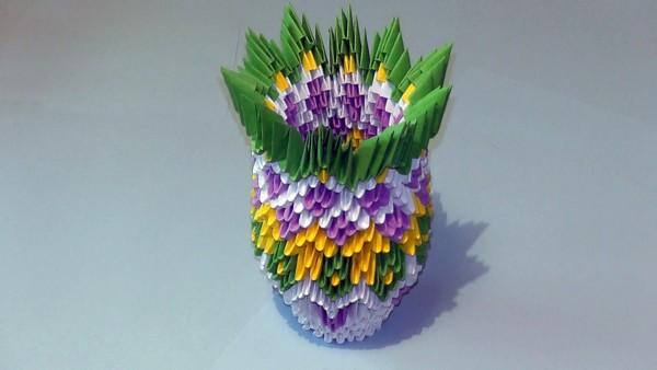 Ваза белая модульное оригами схема сборки
