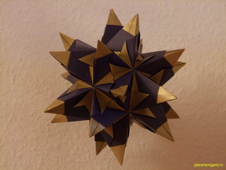 Объемная звезда баскетта из бумаги по схеме Paolo Bacetta