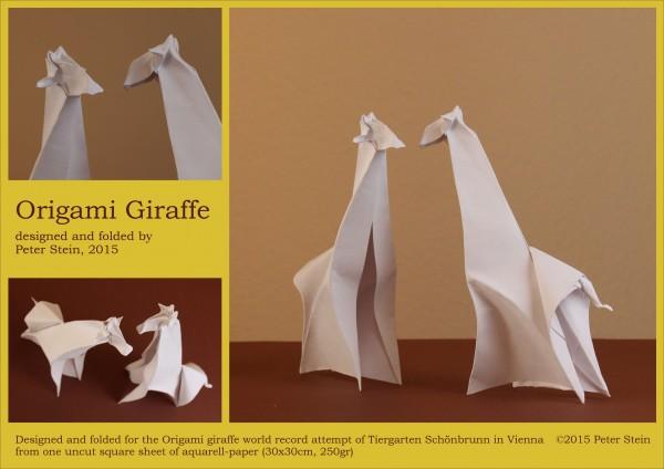 Оригами жираф по схеме Peter