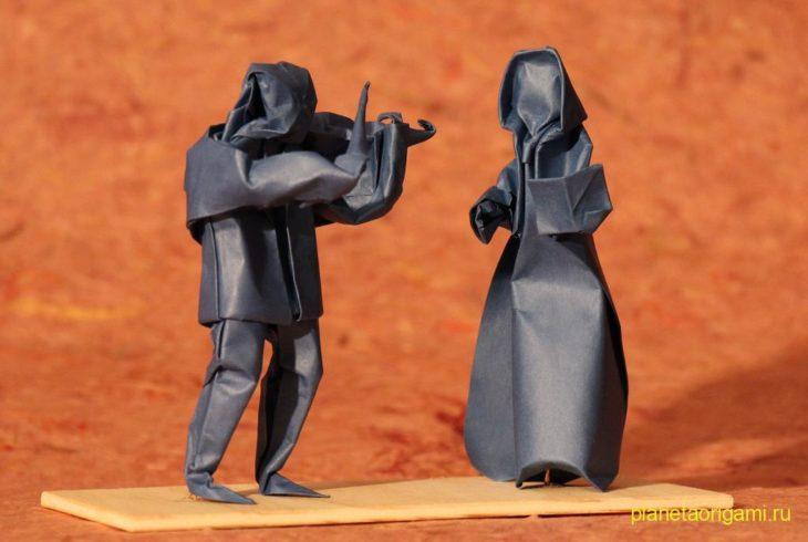 Оригами скрипач по схеме Петера Штайна